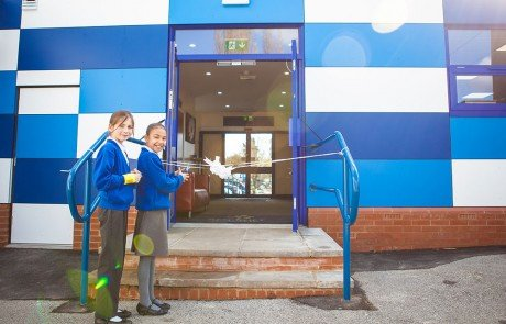 Students open Ryecroft Academy's main entrance